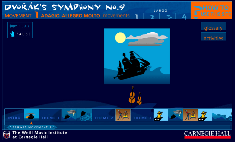 Carnegie Hall Interactive Music Map For Dvoraks Symphony No.9 music game online