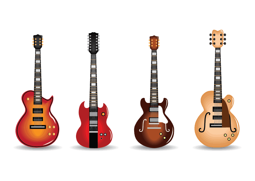 Electric guitars in a row image