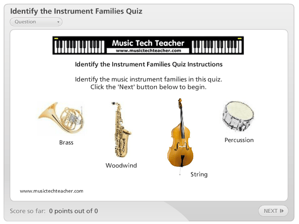 Identify The Instrument Families Quiz music game online
