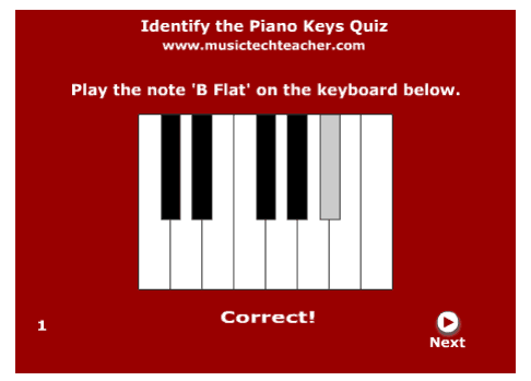 Identify The Piano Keys music game online