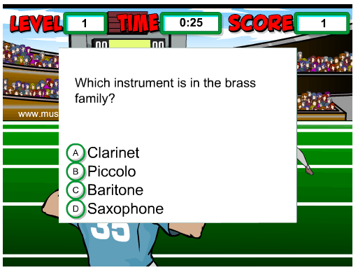 Instrument Family Football Quiz music game online