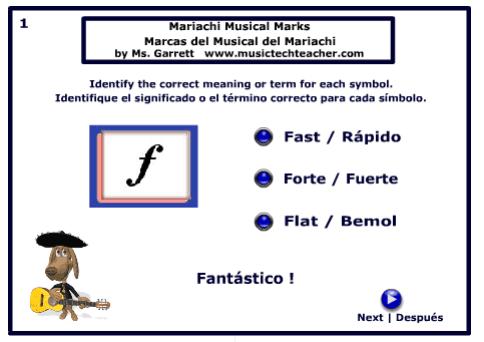 Mariachi Musical Quiz music game online