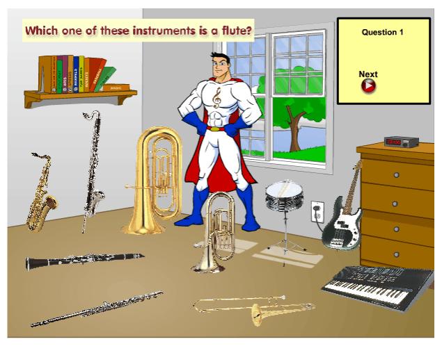 Mighty Music Man Instrument Quiz music game online
