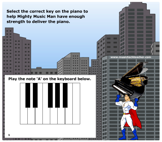 Mighty Music Man Piano Quiz music game online