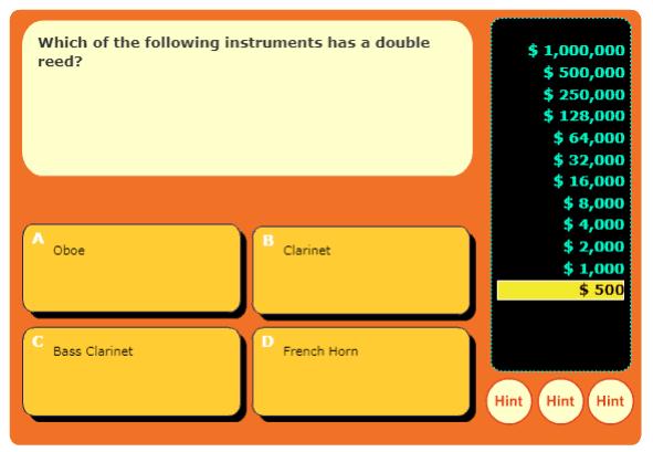 Music Mania Instrument Gameshow music game online