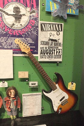 Guitar history: Nirvana items including Fender Stratocaster guitar
