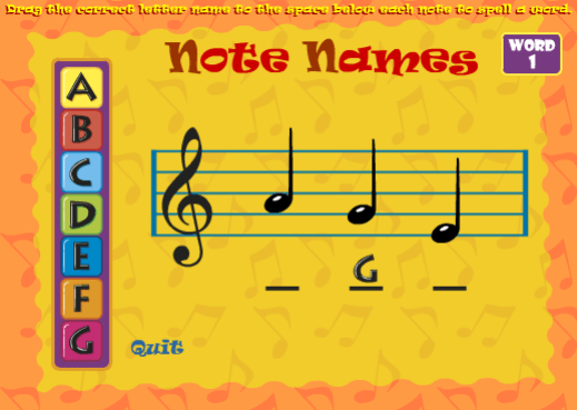 Note Names 2 music game online