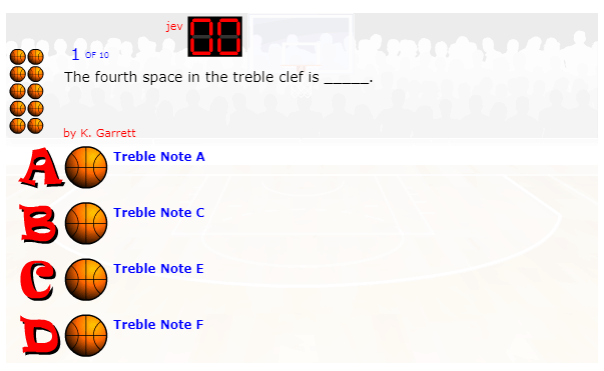 Treble And Bass Clef Lines And Spaces Basketball Quiz music game online