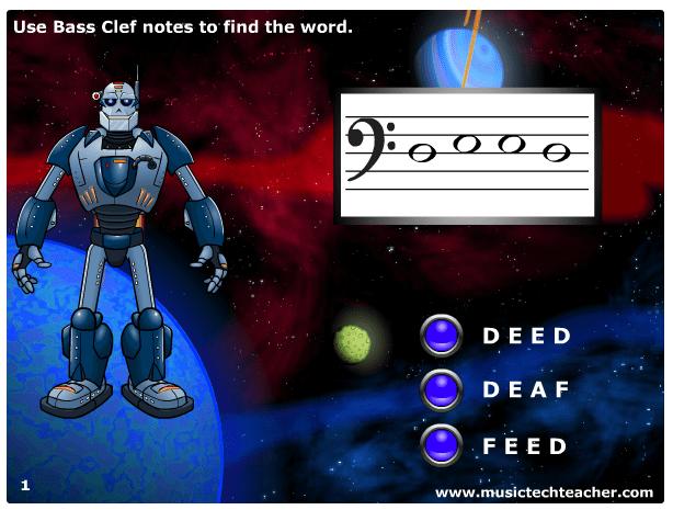 Word Warrior Bass Clef Music Quiz music game online