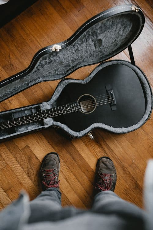 guitar in well fitting hard case