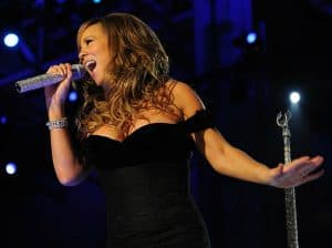 Soprano Mariah Carey on stage singing