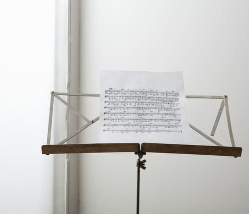 music stand with music
