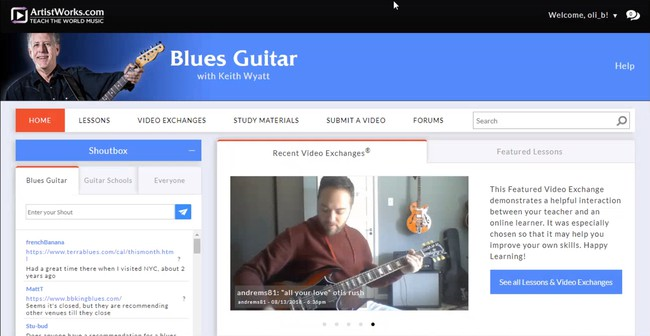 Screenshot of the blues guitar course in ArtistWorks