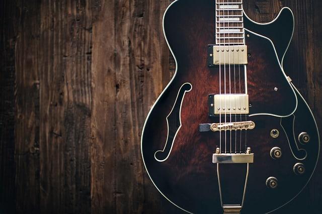 Semi-electric guitar on wood