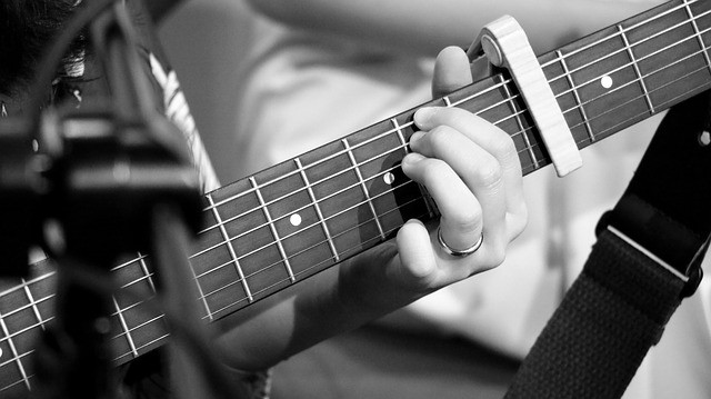 spring loaded capo in use on guitar