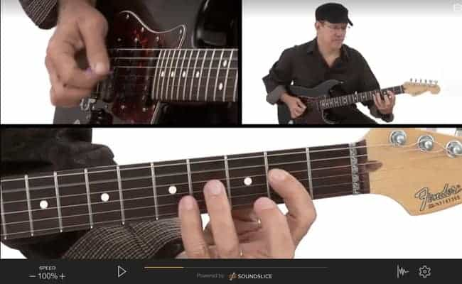 Screenshot of TrueFire guitar lesson online
